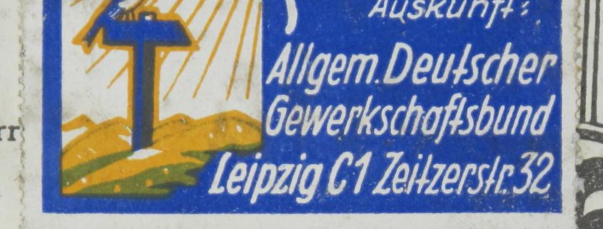 Etikett Allgemeiner Deutscher Gewerkschaftsbund Ortsausschuss Leipzig