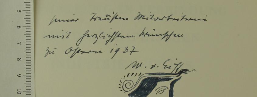 Handzeichnung / Widmung Wilhelm von Eiff