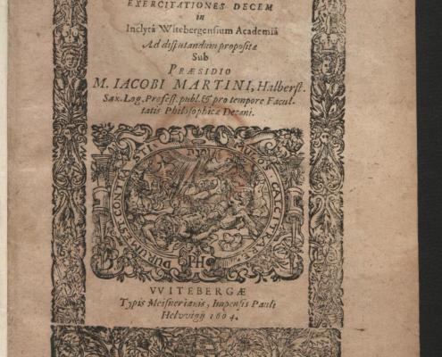 Titelblatt einer Dissertation aus dem Jahr 1604, Nh 391