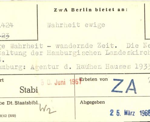 Zentralstelle Berlin, Vordruck von 1962